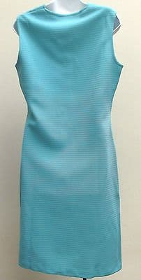 Vintage 1960s dress size 12 UNUSED crimped polyester Caprice SHOP SOILED blue